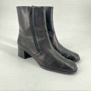 Salvatore Ferragamo black leather booties 6.5B